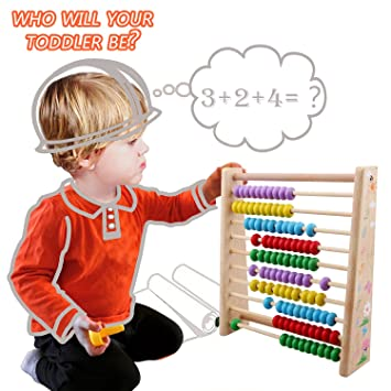 fb449bfb0c8f Amazon.com   Sealive Colorful Wooden Abacus Math Toy for Baby Kids ...