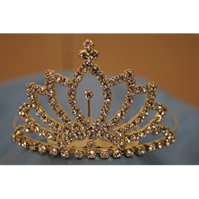 (SMALL)Elegant Bridal Wedding Tiara Crown with Crystal Party Accessories DH5122(GOLD)