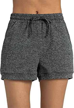 KMISUN Cozy Banded Waist Running Fitness Workout Shorts with Pockets and Drawstring for Women