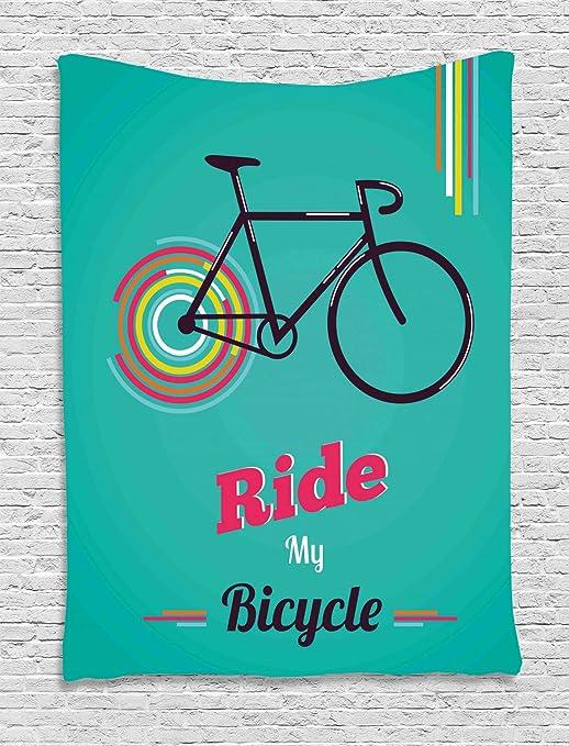 ABAKUHAUS Vintage Tapiz de Pared, Montar mi Bicicleta Tema Cartel Estilo Retro Bicicleta Hipster, para el Dormitorio Apto Lavadora y Secadora Estampado Digital, 100 x 150 cm, Teal Caliente Rosa Negro: Amazon.es: