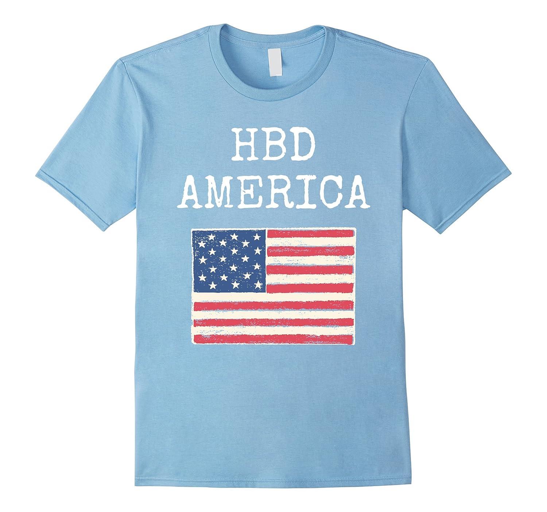 HBD Happy Birthday America Distressed T Shirt PL