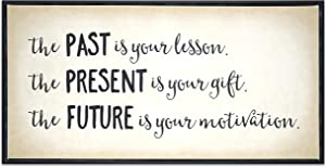 Homekor Past Present Future Motivational Quote Hanging Wall Art Decor - The Past is Your Lesson, The Present is Your Gift, The Future is Your Motivation - Inspirational Framed Canvas Print 24 x 12