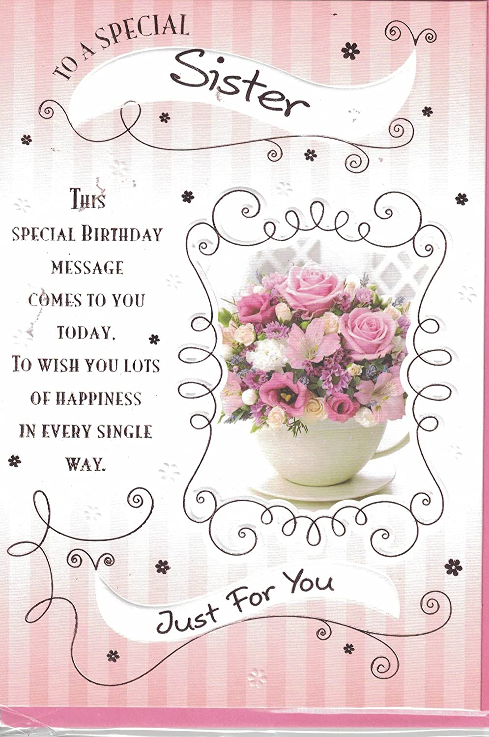 Sister birthday card to a wonderful sister happy birthday enjoy sister birthday card to a wonderful sister happy birthday enjoy your special day modern pink flowers design lovely verse great quality card izmirmasajfo