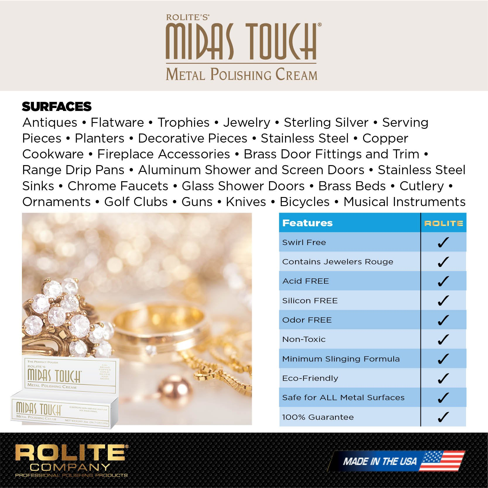 Rolite's Midas Touch Jewelry and Silver Polish MTMPC2z Metal Polishing Cream