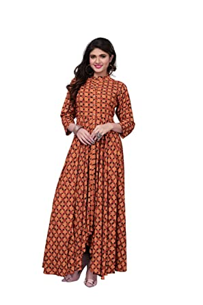 Royal Export Women s Brown Printed Rayon Gown (NNT Brown M Brown Medium) eed94f9fc