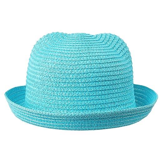Kids Anti-UV Straw Sun Hat Cat Ear Bucket Hat for Toddlers Beach Panama Caps 62e327ed712