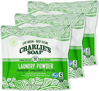product image for Charlie's Soap Laundry Powder (50 Loads, 3 Pack) Hypoallergenic Deep Cleaning Washing Powder Detergent – Eco-Friendly, Safe, and Effective