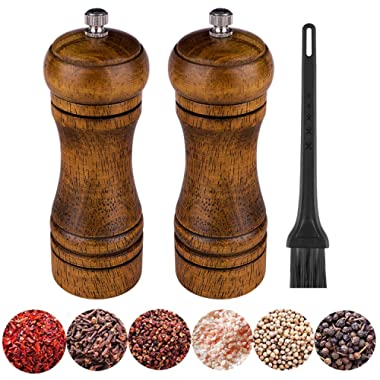 Wooden Salt and Pepper Mill Set, Pepper Grinders with with Cleaning Brush,Classic Manual Ceramic Core Grinders Adjustable Coarseness,Suitable for BBQ,Family Dinner,Kitchen,Restaurant(Pack of 2)