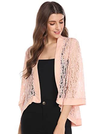 2596b053e Dealwell Women's Lace Cardigan Lightweight 3 4 Sleeve Dressy Shrug Summer  Jacket: Amazon.co.uk: Clothing