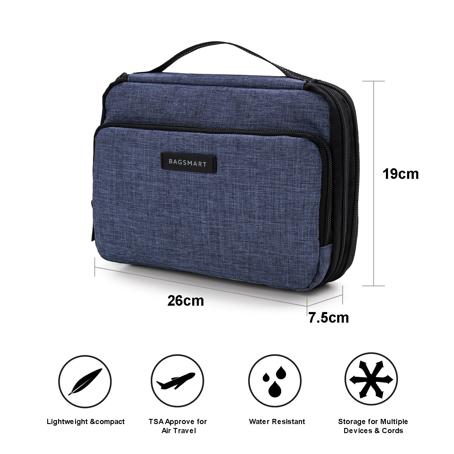 BAGSMART 3-layer Travel Electronics Cable Organizer Bag for 9.7'' iPad, Hard Drives, Cables, Charger, Kindle, Blue by BAGSMART (Image #7)