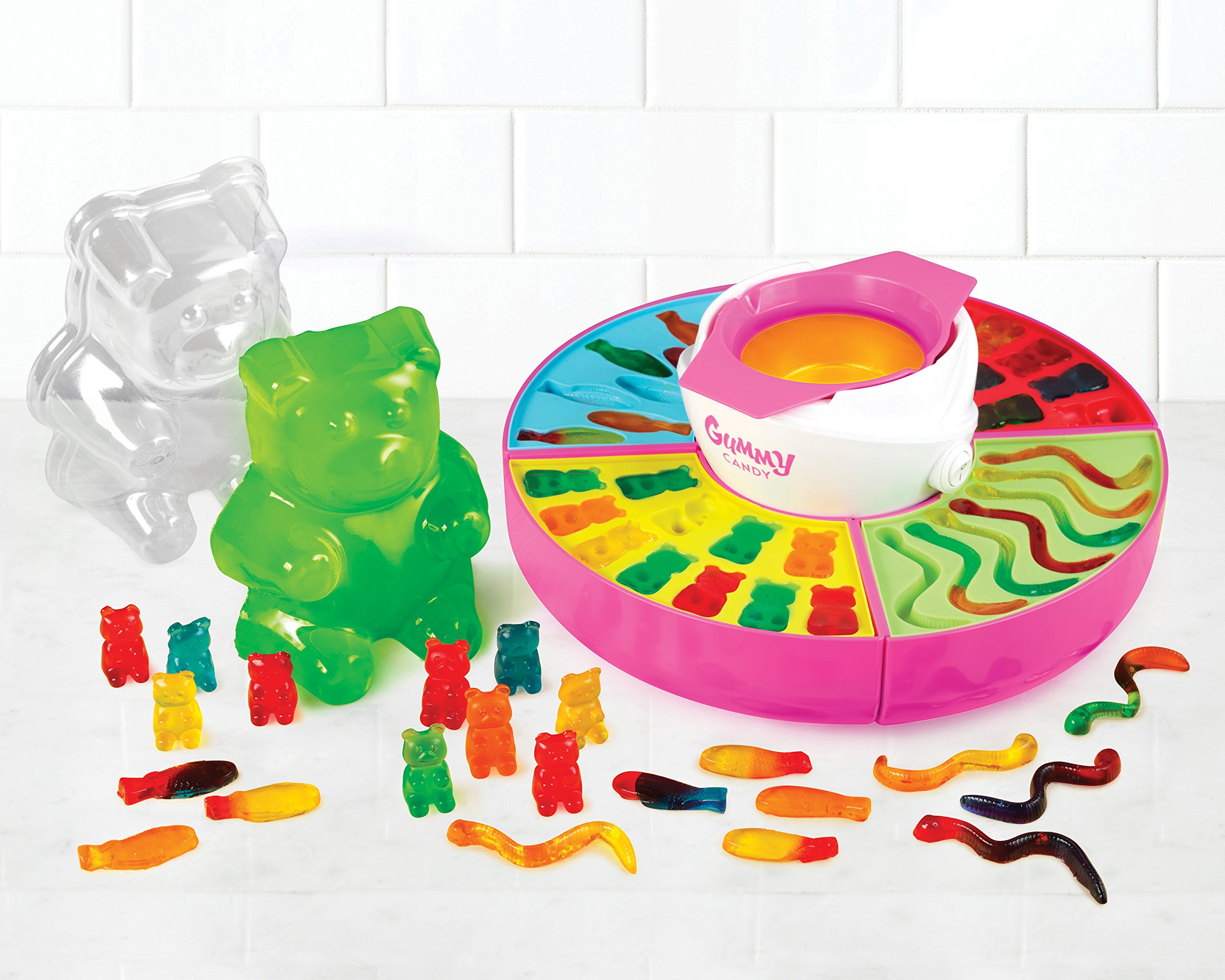 Nostalgia GCM600 Electric Giant Gummy Bear, Fish and Worm Maker Try with your own CBD Oil, Pink by Nostalgia (Image #2)