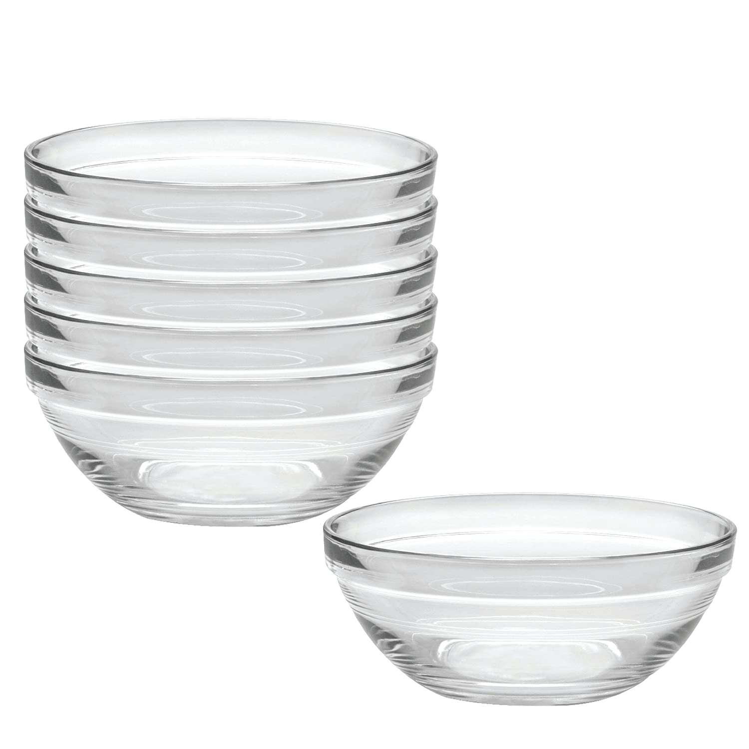 Duralex Made In France Lys 10-1//4-Inch Stackable Clear Bowl Set of 6 2029AF06//6