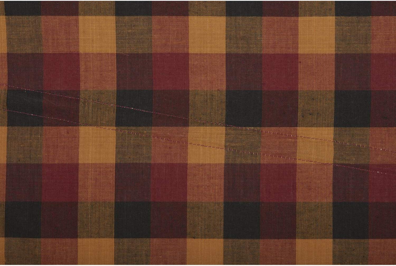 VHC Primitive Prairie Panel Pair Burgundy Check Curtains Rod Pocket Red