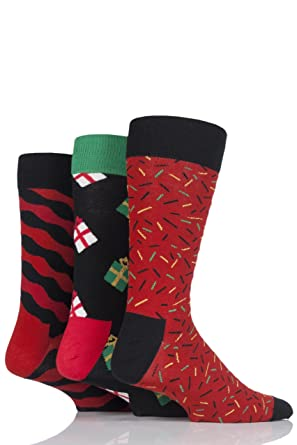 happy socks men s 3 pack singing christmas socks gift box red navy