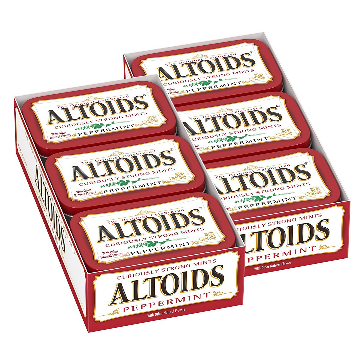 B000FKQD5G Altoids Classic Peppermint Breath Mints Singles Size 1.76-Ounce Tin 12-Count Box 81pBFmmTdbL