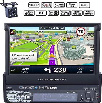 Reakosound Radio1 DIN 7 Pulgadas 1080P Radio de Coche con Pantalla Táctil retráctil automática HD Bluetooth Navegador GPS Radio FM/Am Vídeo Estéreo USB AUX cámara Trasera: Amazon.es: Electrónica