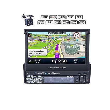 Reakosound 1 Din 7 pulgadas 1080P Radio de Coche con Pantalla Táctil retráctil HD Bluetooth Navegador GPS Radio FM / AM Vídeo Estéreo USB AUX cámara ...