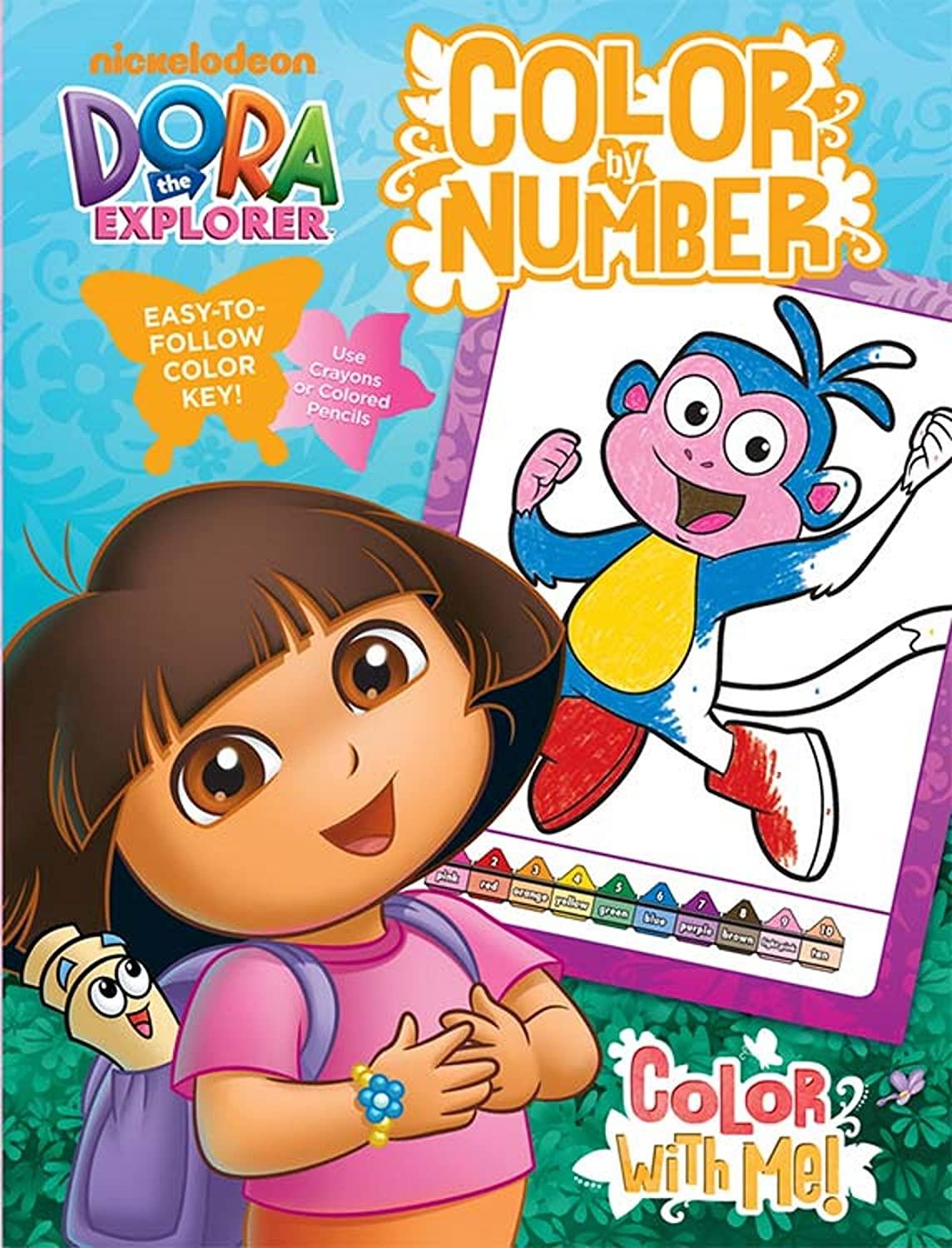 Bendon Dora The Explorer Color With Me 48 Page Color By Number Coloring Book With Full Color Border Guide