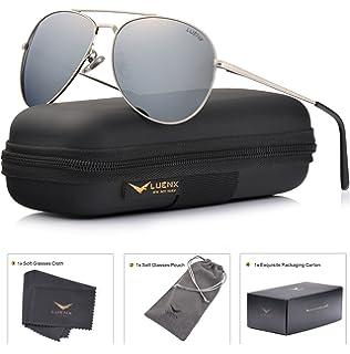 58200357672 LUENX Aviator Sunglasses Polarized Men Women with Accessories Metal Frame  UV 400 Driving Fashion 60MM (