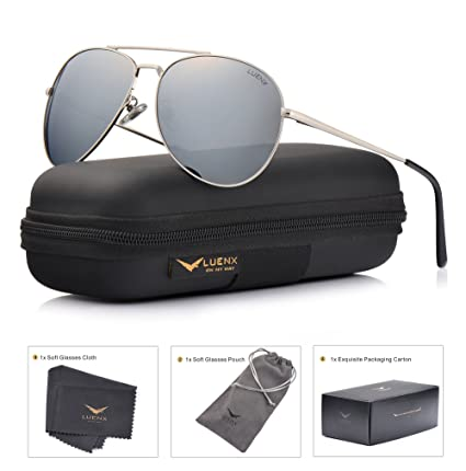 b91a5c8818 Image Unavailable. Image not available for. Color  LUENX Aviator Sunglasses  Polarized Men Women with Accessories Metal Frame UV 400 ...