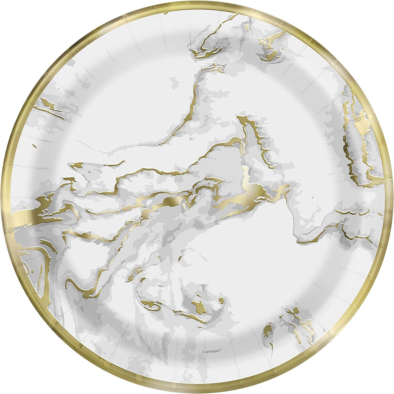 Lot de 10 assiettes en carton Motif marbre dor/é 18 cm