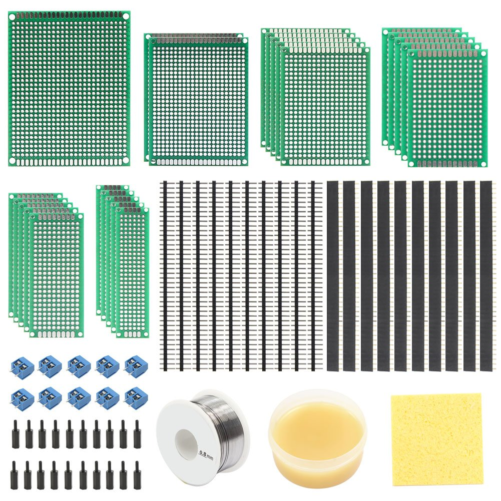 Keayoo 76 Pcs PCB Prototype Boards Kit with 23 Pcs DIY Circuit Double Sided Board, 20 Pcs 40 Pin 2.54mm Male and Female Header Connector,Flux and 0.8mm Soldering tin for DIY