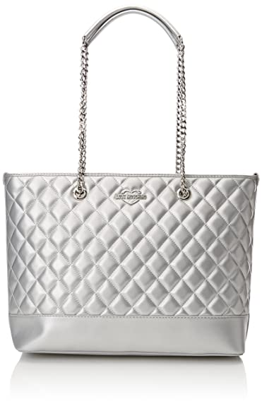 71c0c64c09 Love Moschino Borsa Quilted Metallic Pu Argento, Women's Tote, Silver,  12x28x41 cm (