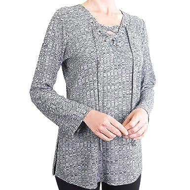 06546f1653 Chenault Womens Size 2X-Large Long Sleeve V-Neck Lace Up Tunic ...