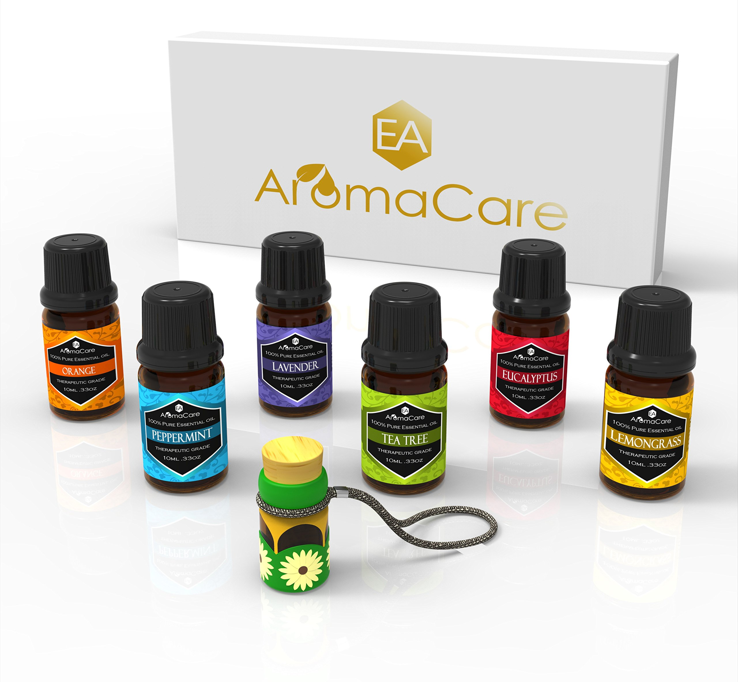 Aromatherapy Essential Oils Gift Set in a EXCLUSIVE WHITE BOX (Lavender, Peppermint, Lemongrass, TeaTree, Eucalyptus, Bergamot) FREE Essential Oil Pendant and ebook