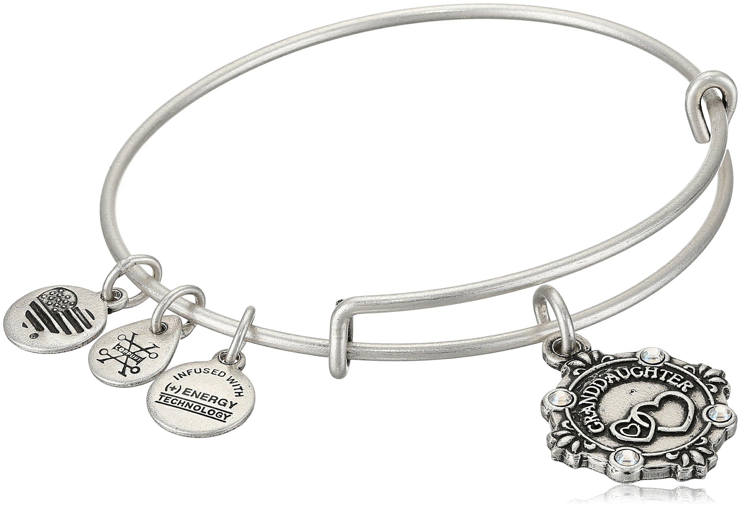 Alex and Ani Womens Because I Love you, Granddaughter Charm Bangle Bracelet, Rafaelian Silver, Expandable