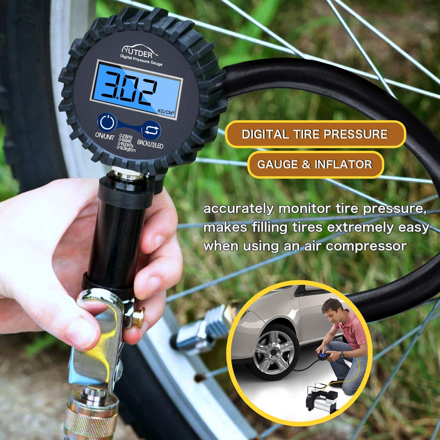 AUTDER Digital Tire Pressure Gauges 235 PSI Air Compressor Accessories with Backlit LCD and Non-Slip Grip