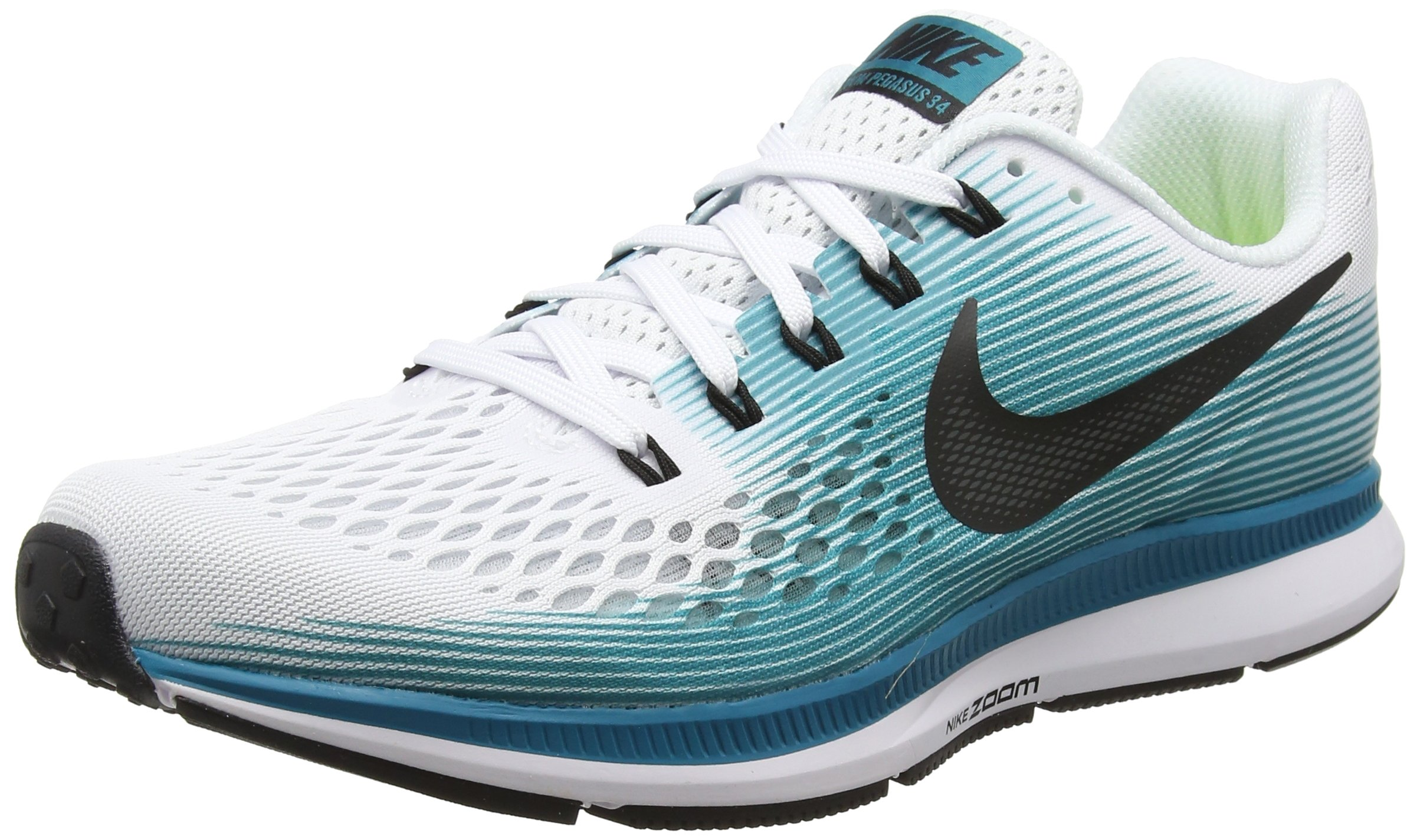 Nike Men's Air Zoom Pegasus 34, WHITE/BLACK/BLUSTERY, 12 M US