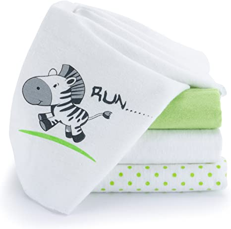 Paño algodón bebé / muselina franela - 4 Ud., 80x80 cm, estampado ...