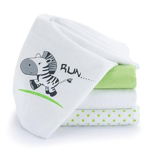Langes en molleton bébé   Lot de 4   80 x 80 cm   Qualité supérieure - motif zèbre, double tissage, bordure renforcée, certifié Öko-Tex Standard 100, lavable à 60° C