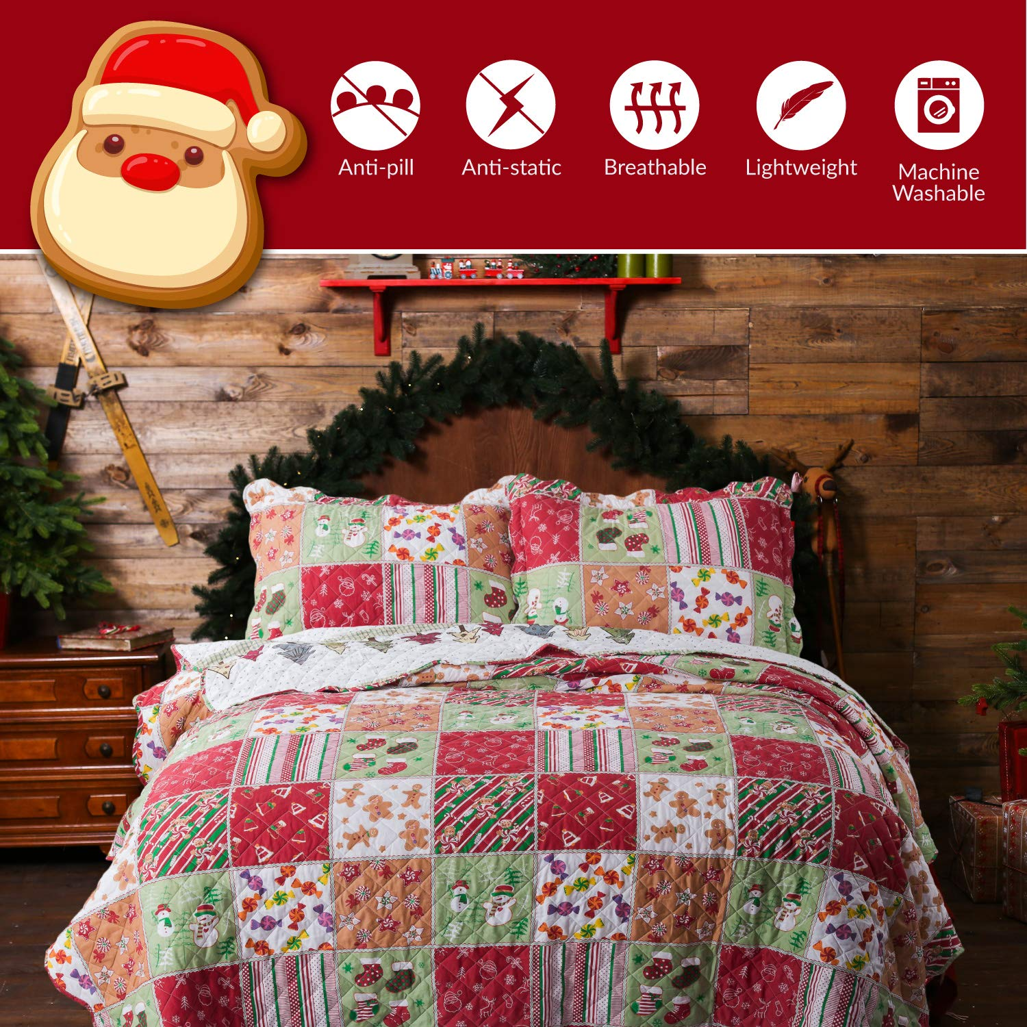 Bedsure Christmas Quilt Set Full/Queen Size (90 x 96 inches) - Multicolor Printed Pattern - Soft Microfiber Lightweight Coverlet Bedspread for All Season