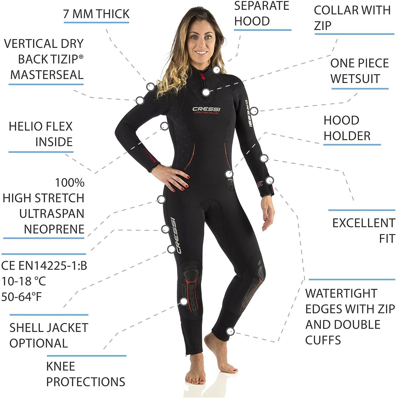 Cressi Lontra Plus - Traje modular para Mujer - Construido en 7 mm en Forro exterior UltraSpan© y interior Helioflex© al 100%