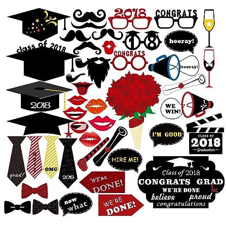 unomor 47pcs graduación Photo Booth Props 2018, Clase de 2018, graduación Decoraciones para graduación