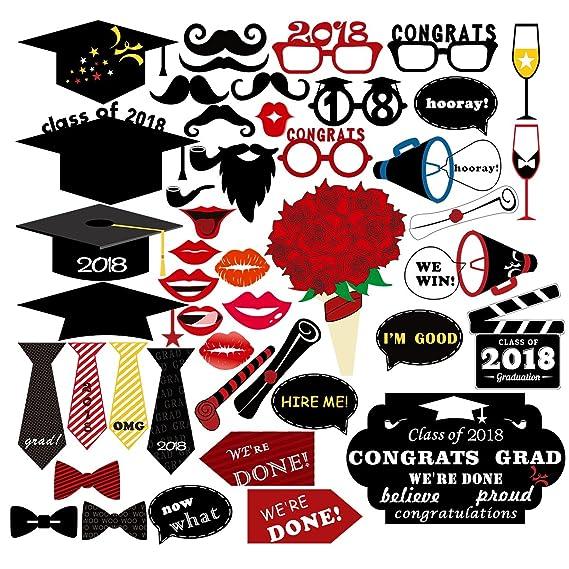 unomor 47pcs graduación Photo Booth Props 2018, Clase de 2018, graduación Decoraciones para graduación Fiesta Suministros: Amazon.es: Electrónica