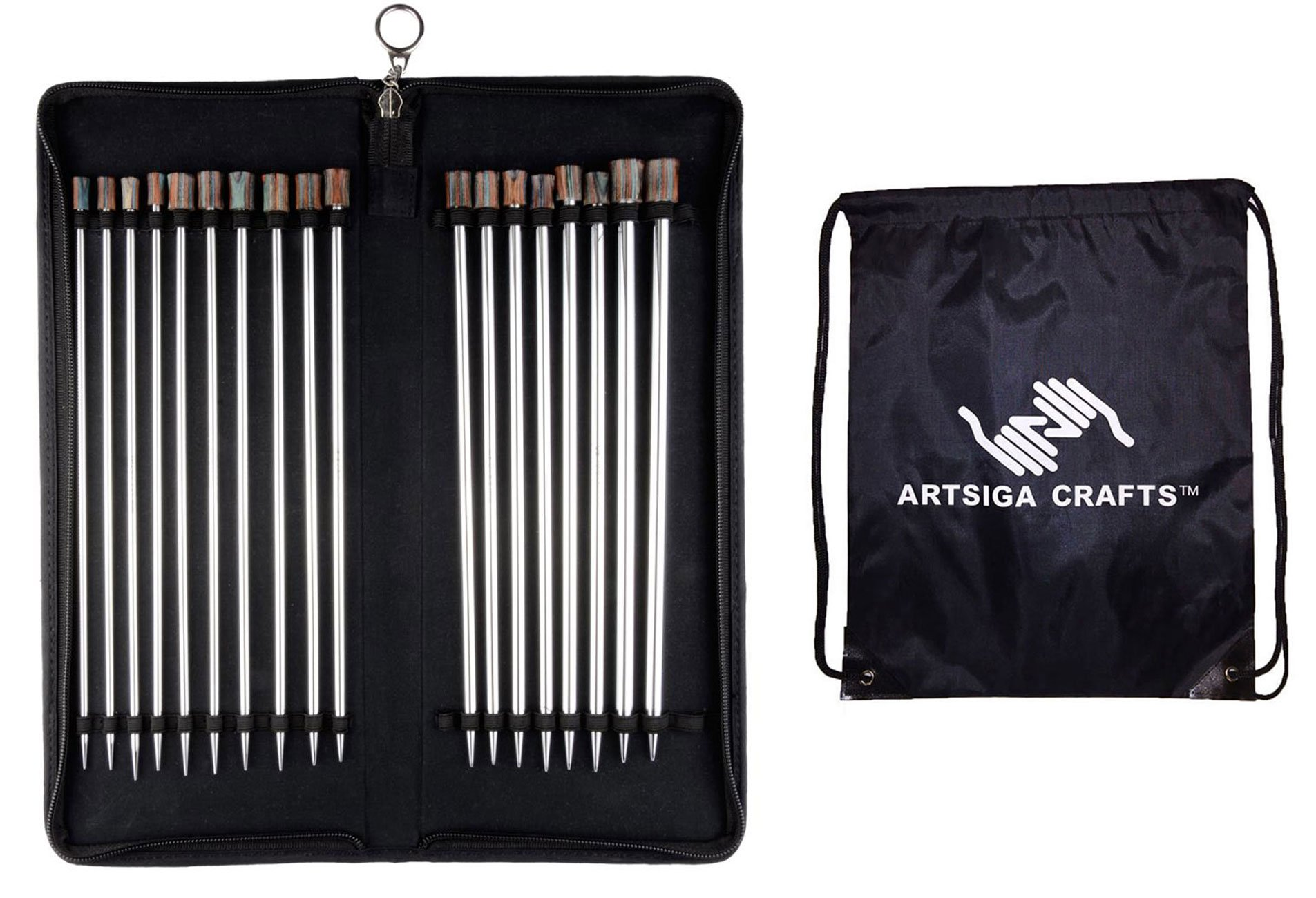 Knitter's Pride Knitting Needles Nova Platina 14 inch (35cm) Single Pointed Set Bundle with 1 Artsiga Crafts Project Bag 120608