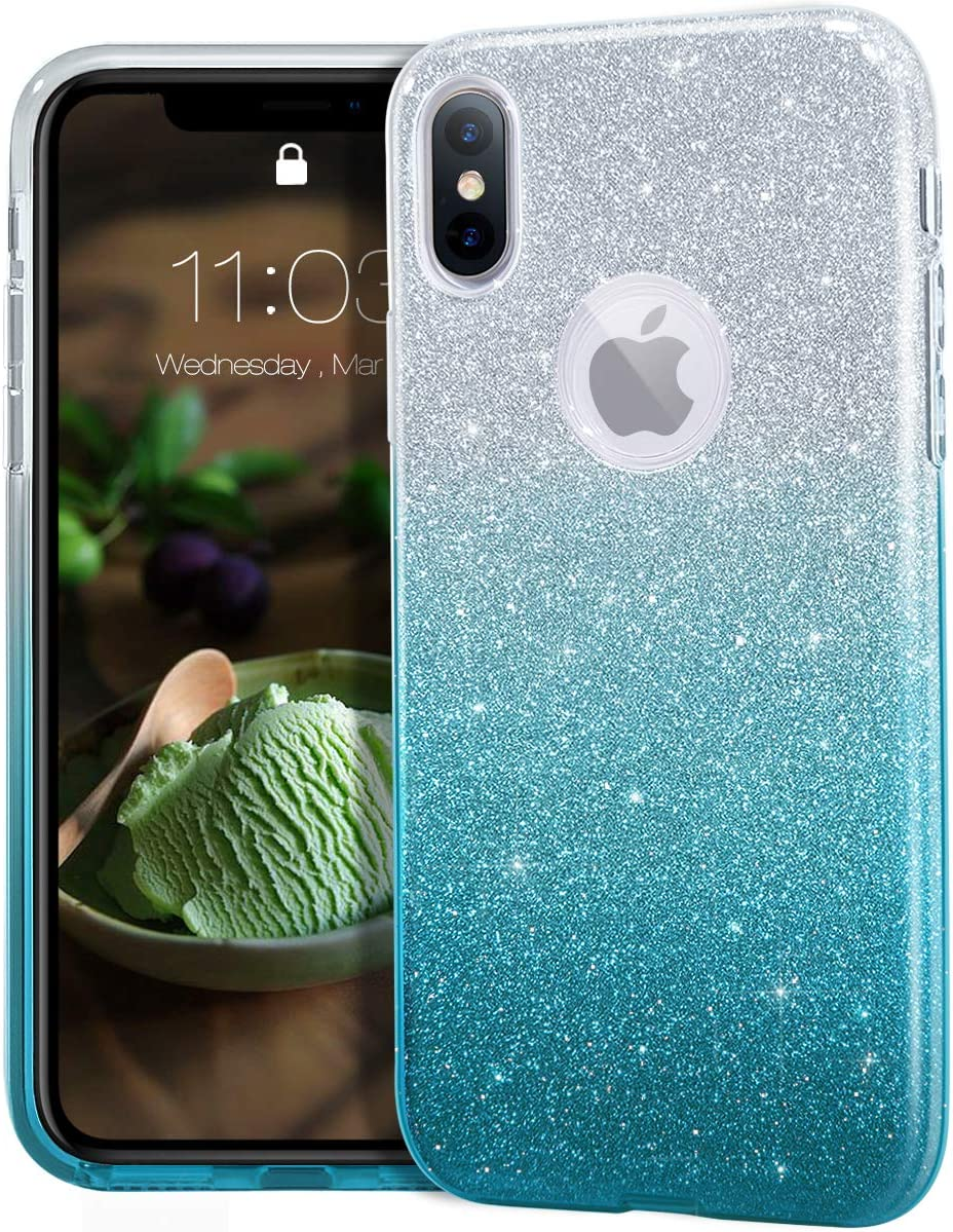 "MATEPROX iPhone Xs case,iPhone X Glitter Bling Sparkle Cute Girls Women Protective Case for iPhone Xs/X 5.8"" -Gradient Green"