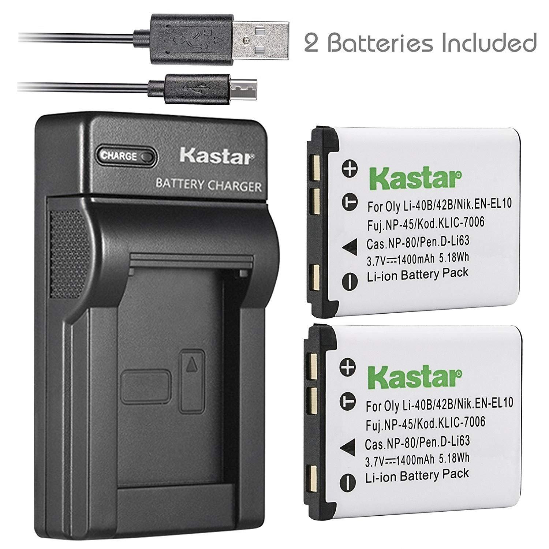 Kastar Battery (X2) & Slim USB Charger for Kodak KLIC-7006 K7006 & EasyShare M22, M23, M200, M522, M530, M531, M532, M550, M552, M575, M577, M580, M583, M750, M873, M883, M5350, M5370, MD30, Mini