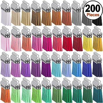 Amazon.com: Duufin 200 piezas llavero borlas de cuero a ...