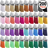 Duufin 200 Pieces Keychain Tassels Bulk Leather Tassel Colored Tassel Pendants for DIY Keychain and Craft, 40 Colors