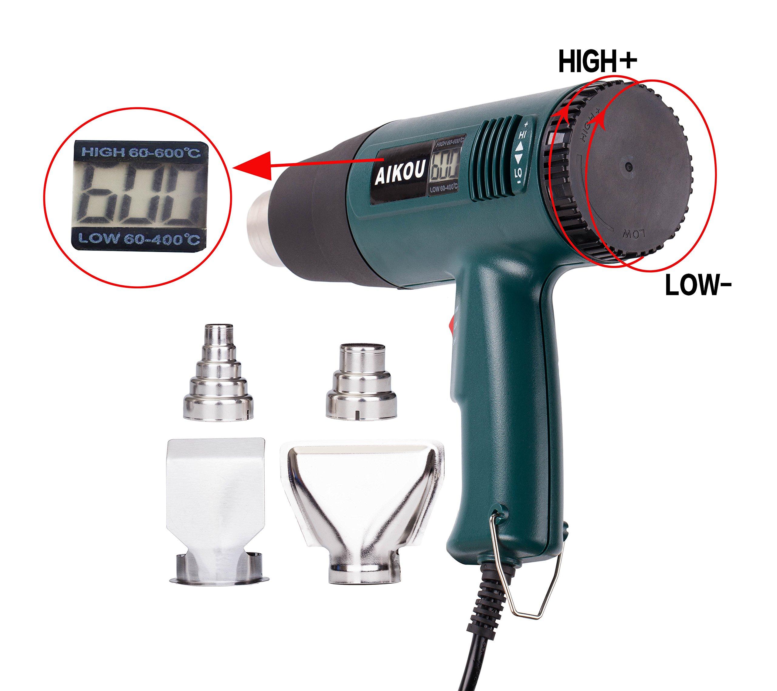 AIKOU 1800W Adjustable Temperature Hot Air Heat Gun with Digital Display Fast Heating Blower Kits (Green)