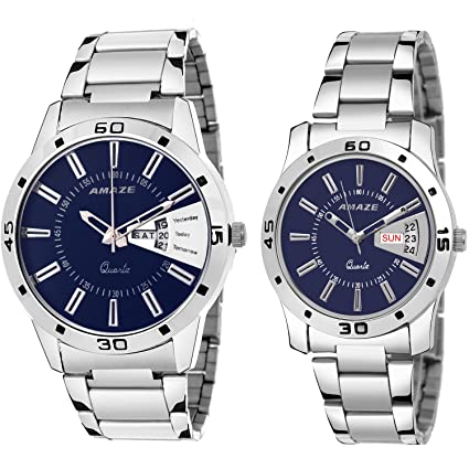 Day & Date Silver Steel Chain Dial Blue Colour Analouge Men & Boys Couple Watch-CT55