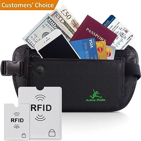 Cinturón de viaje para dinero - Riñonera Running Interior Discreta - Bolsa  De Viaje Oculta con 285a79abc190