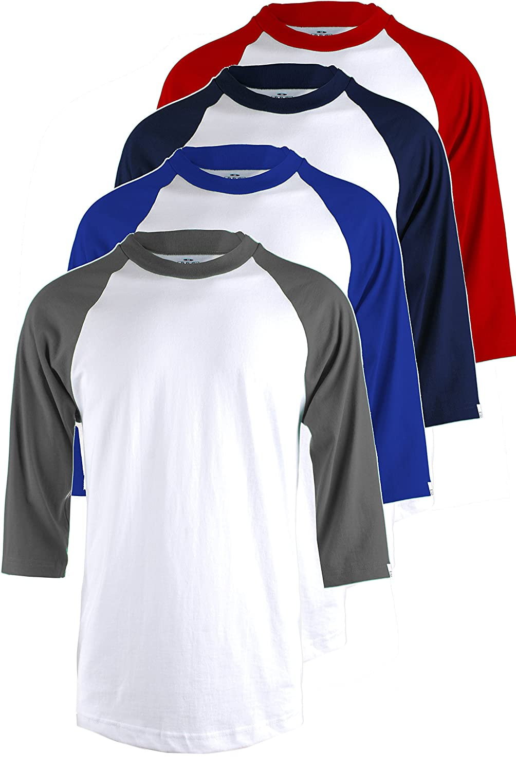 TL Men's 4 Pack 3/4 Sleeve Baseball Cotton Crew Neck Jersey Raglan Tee Shirts