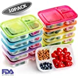 [10 Pack]Bento Lunch Box Containers for Meal Prep,3 Compartment Portion Control Food Storage Containers,Microwave,Dishwasher,Freezer Safe