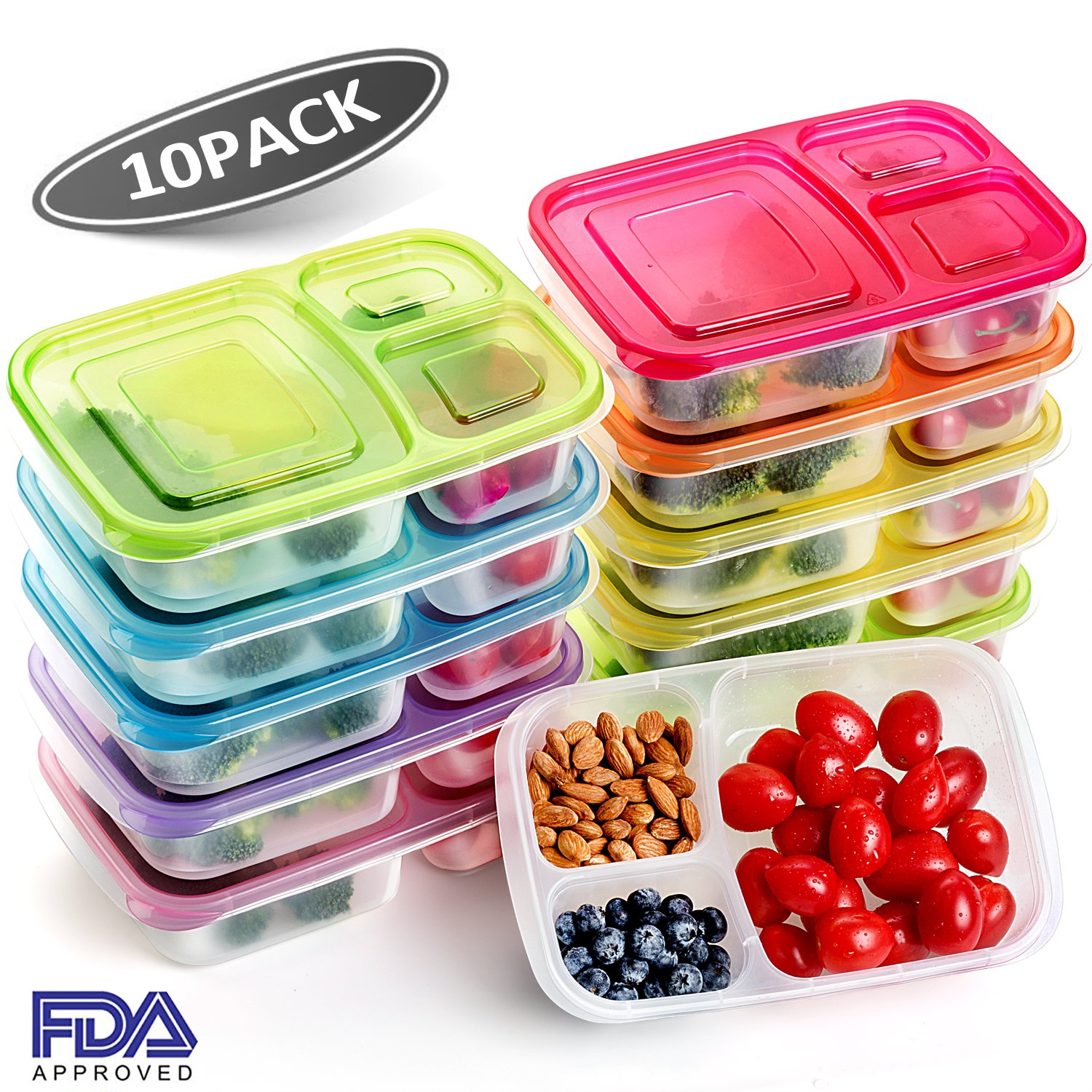 [10 Pack]Meal Prep Containers for Kids,3 Compartment Bento Lunch Box Portion Control Food Storage Containers,Microwave,Dishwasher,Freezer Safe