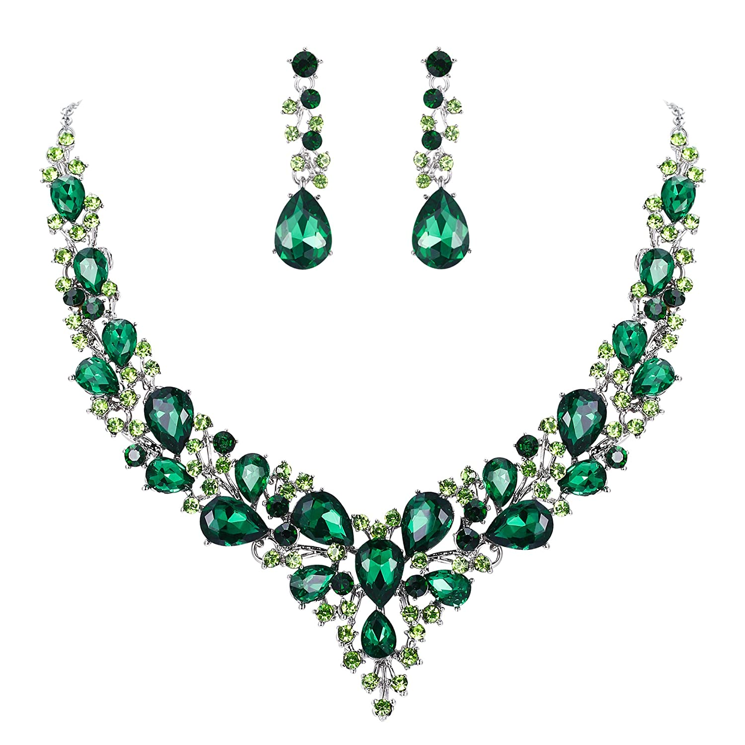 Emerald Color Silver Tone
